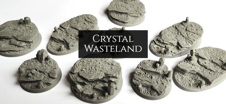 Crystal wasteland resin bases for wargaming miniatures